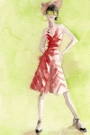Watercolor Fashion Illustration - Red and White Striped Dress and Sunglasses