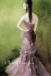 Watercolor Fashion Illustration - Mauve Evening Gown