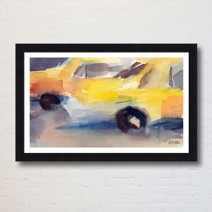 Framed New York taxi abstract art prints for sale in multiple sizes and framing options - www.beverlybrown.com.