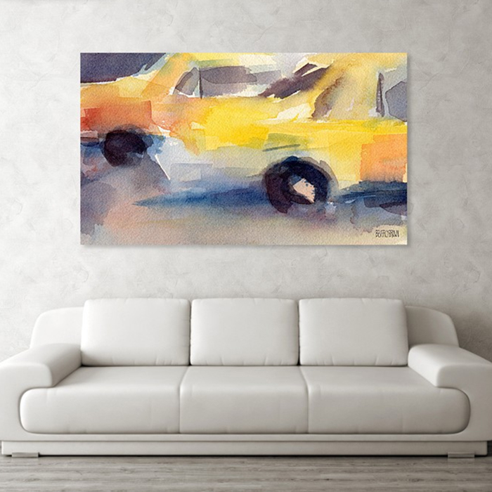Yellow Taxi Cabs NYC Abstract Painting - New York taxi art - large print on canvas over the sofa - www.beverlybrown.com