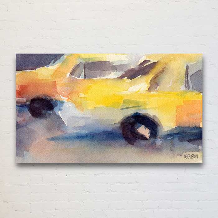 Abstract NYC Taxi art print on canvas, metal or acrylic - New York taxi art for sale in multiple sizes and framing options at www.beverlybrown.com