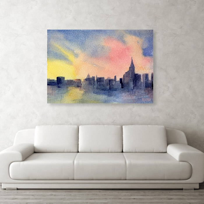 Abstract New York Skyline Sunset Painting Canvas Metal Framed