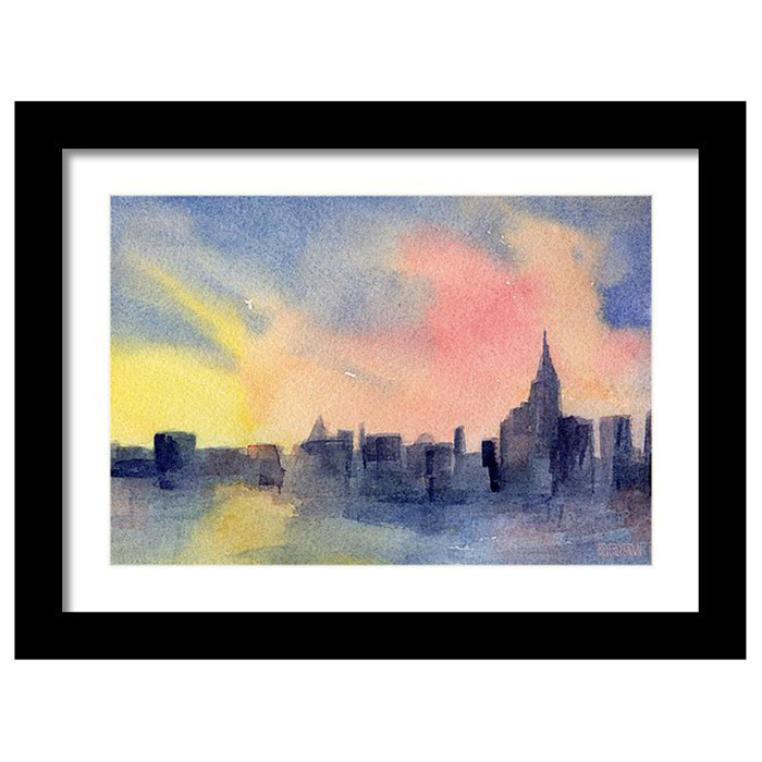 Colorful abstract New York skyline sunset painting framed prints in multiple sizes & framing options by New York artist Beverly Brown.