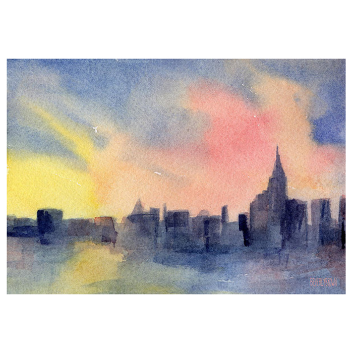 Colorful abstract New York skyline sunset painting available on canvas, metal, or acrylic in multiple sizes by New York artist, Beverly Brown. www.beverlybrown.com