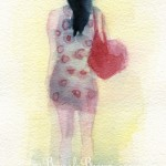 Illustration of a Woman Walking in a Polka Dot Dress