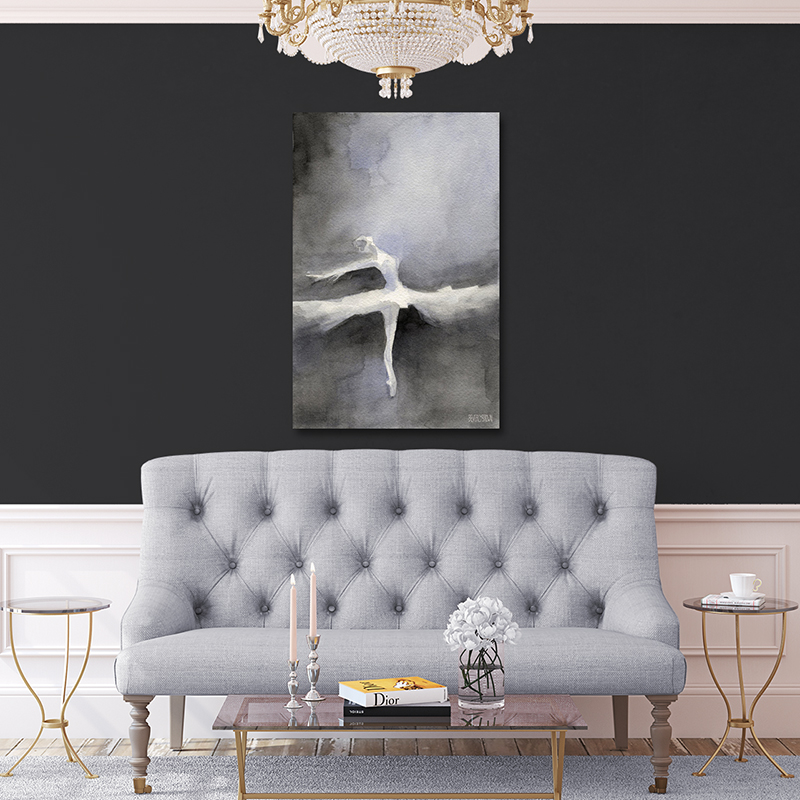 Abstract Black and White Ballerina Painting Large Canvas Art in Living Room on Charcoal Gray Wall by Beverly Brown - www.beverlybrown.com