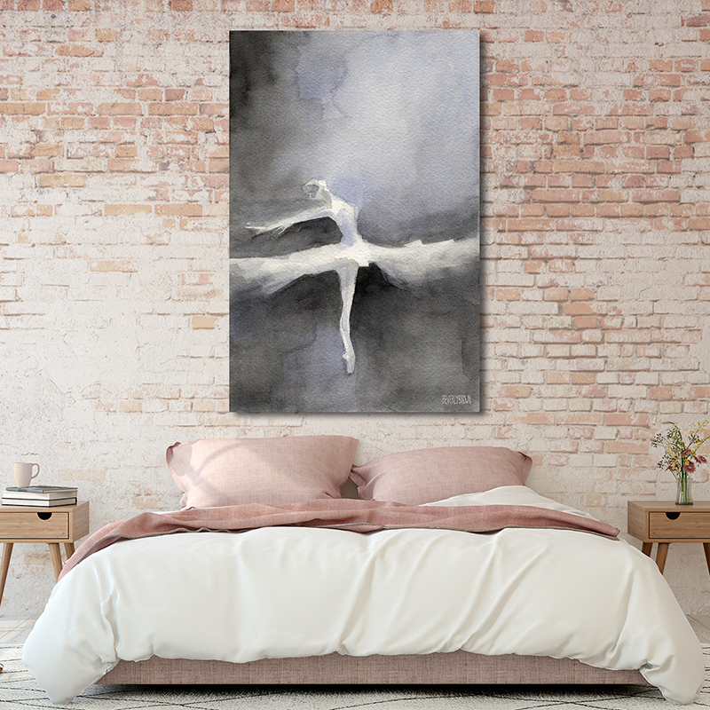 Black and White Ballet Dancer Painting Large 40 x 60 Canvas Wall Art Over the Bed - Beverly Brown - www.beverlybrown.com