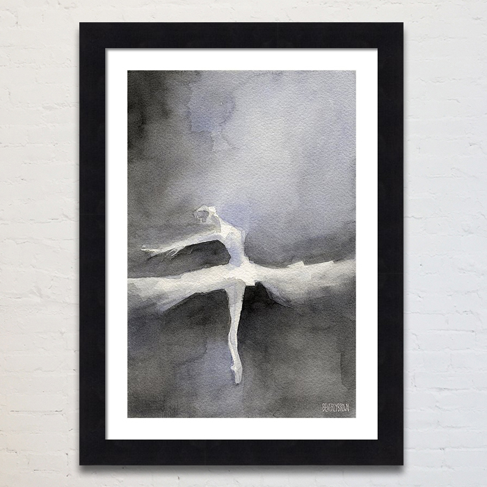 Black and White Ballerina Painting Framed Prints by Beverly Brown - www.beverlybrown.com
