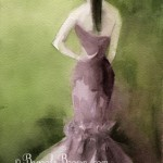 Woman in Mauve Evening Gown