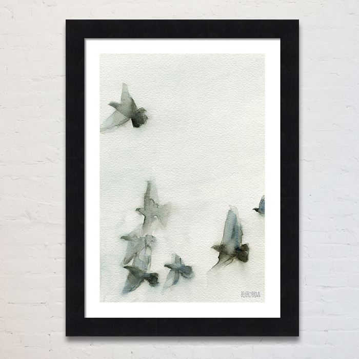 Paintings of birds in flight framed wall art print in shades of gray and blue by artist Beverly Brown. Available in multiple sizes and custom framing options. www.beverlybrown.com