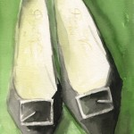Vintage 1960s Black Shoes Painting|Beverly Brown Artist