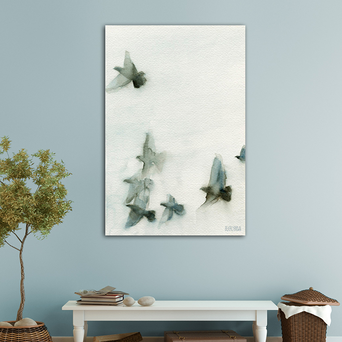 Painting of birds in flight wall art large canvas statement art in shades of gray and blue by Beverly Brown. Available in multiple sizes and framing options. www.beverlybrown.com