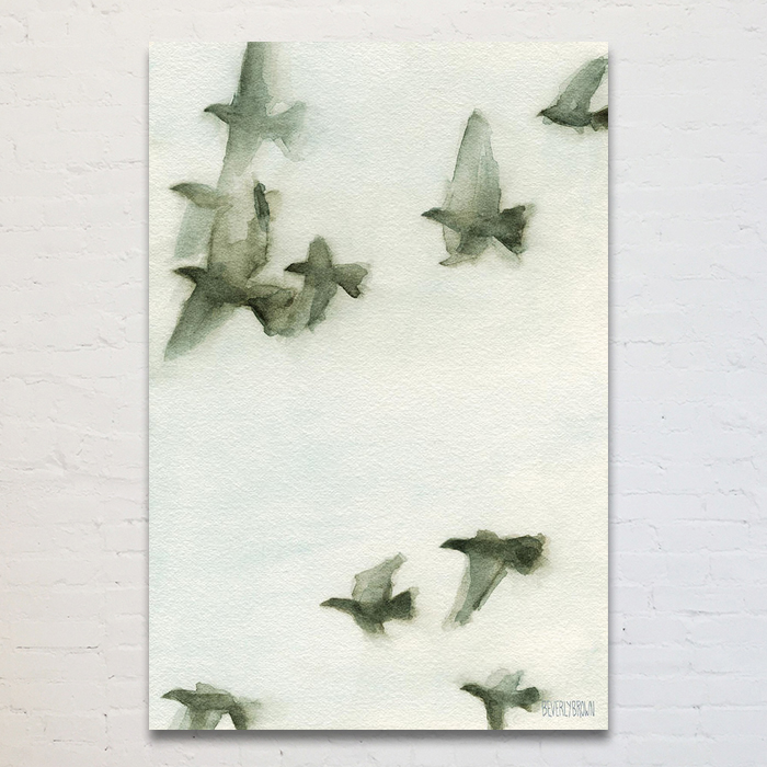 Painting of birds in flight wall art in gray, white and blue. Printed large on canvas - available in multiple sizes. www.beverlybrown.com