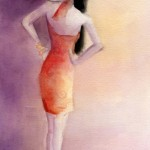 Watercolor Fashion Illustration - Big White Hat & Orange Sundress