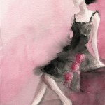Watercolor Fashion Art - Woman in Black + Pink|Beverly Brown Artist