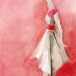Watercolor Fashion Art - White and Pink Dress|Beverly Brown Artist