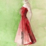 Watercolor Fashion Art - Vintage Inspired Red Dress|Beverly Brown Artist