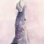 Long Purple and Pink Evening Dress Watercolor Illustration