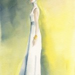 Long White Dress with Yellow Background