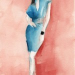 Watercolor Fashion Art - Turquoise Dress Red Background|Beverly Brown Artist