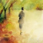 Watercolor Painting Autumn Scene of Woman Walking with Fall Leaves|Beverly Brown Artist