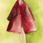 Watercolor Fashion Illustration - Red Coat|Beverly Brown Artist