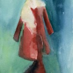 Watercolor Fashion Illustrations for Sale - Red Coat and Dress|Beverly Brown Artist