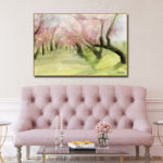 Cherry Blossom Trees in Central Park NYC - Blush Pink and Green Abstract Landscape Painting Large Canvas Wall Art over the Sofa - Artwork by Beverly Brown - For sale at www.beverlybrown.com