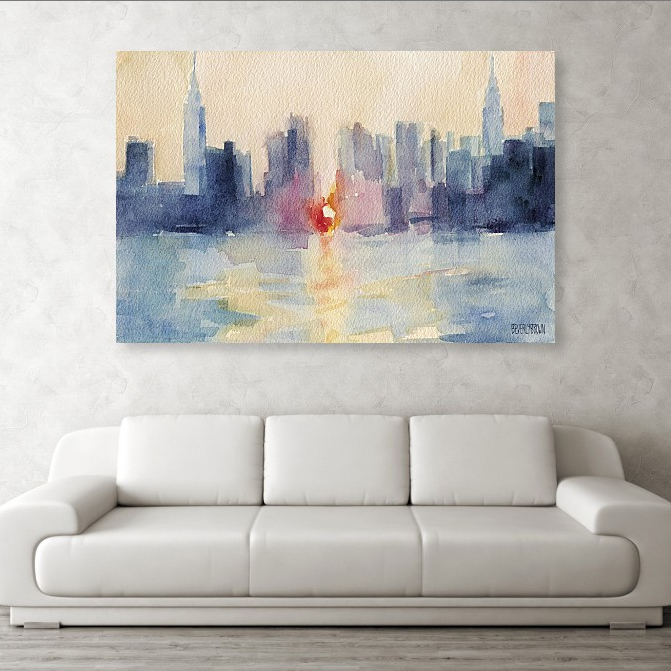 Manhattanhenge abstract New York skyline painting large wall art over the couch - art by Beverly Brown - www.beverlybrown.com