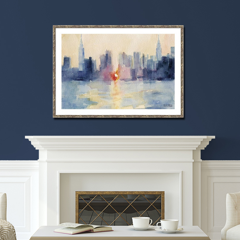 Manhattanhenge Abstract New York Skyline Painting large framed wall art over fireplace in a living room with navy blue walls - Beverly Brown - www.beverlybrown.com