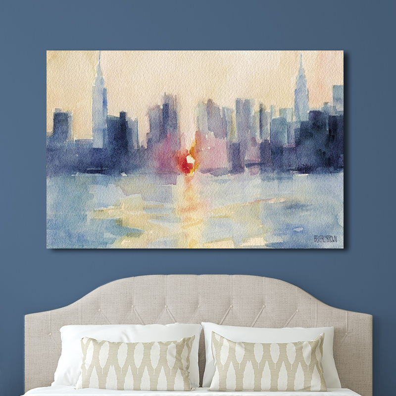 NYC skyline abstract painting large canvas print on a blue wall over the bed - art by Beverly Brown - www.beverlybrown.com
