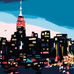 New York skyline at dusk painting by Beverly Brown