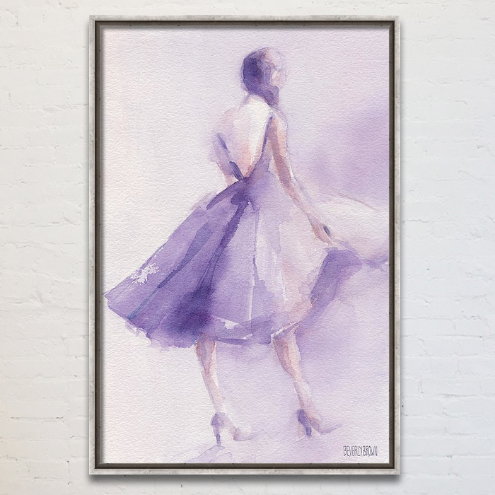 Lavender Dress Chic Fashion Illustration Large Framed Canvas Wall art by Beverly Brown. www.beverlybrown.com