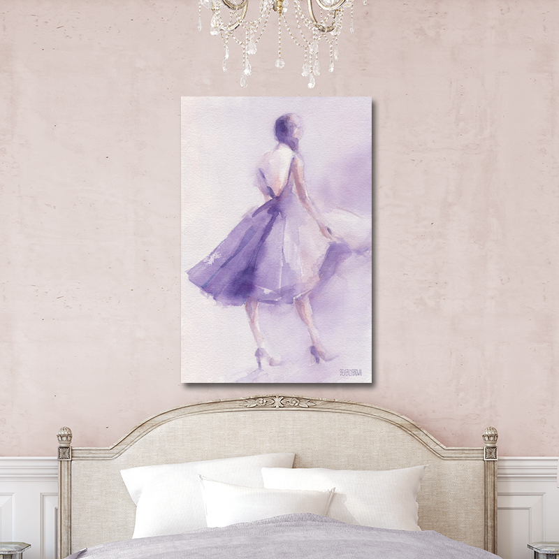 The Lavender Dress fashion illustration large canvas wall art over the bed on a blush pink wall. Fashion artwork by Beverly Brown. www.beverlybrown.com