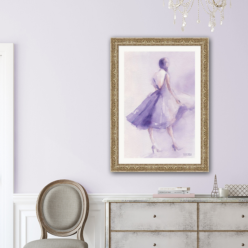 Entry hall with light purple walls featuring purple retro chic fashion illustration art by Beverly Brown. www.beverlybrown.com