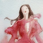 Coral Dress Fashion Art by Beverly Brown