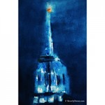 Blue Empire State Building Watercolor Painting by Beverly Brown
