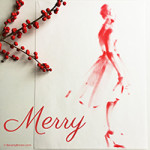 Chic Holiday Greetings Fashion Sketch by Beverly Brown