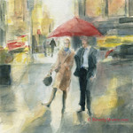 Red Umbrella New York in the Rain watercolor painting by Beverly Brown