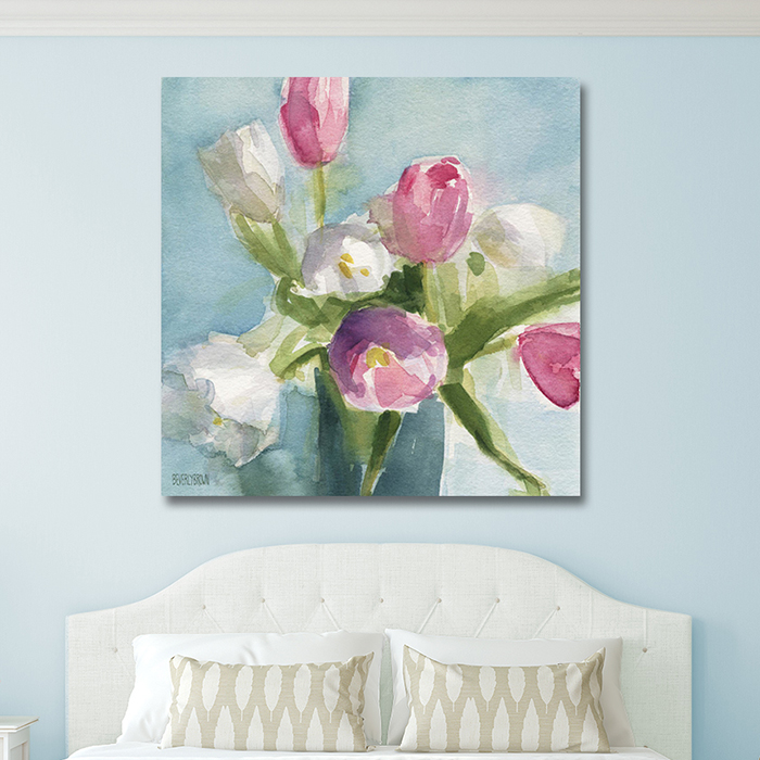 Shabby chic floral painting canvas wall art over the bed in a duck egg blue room in shades of pink, white, spring green and aqua blue by Beverly Brown. www.beverlybrown.com