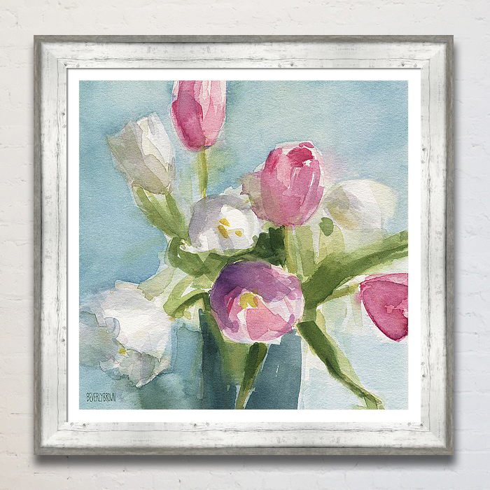 A shabby chic floral painting watercolor framed print in shades of aqua blue, pink, white and green by artist Beverly Brown. www.beverlybrown.com