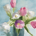 pink and white tulips watercolor painting by Beverly Brown