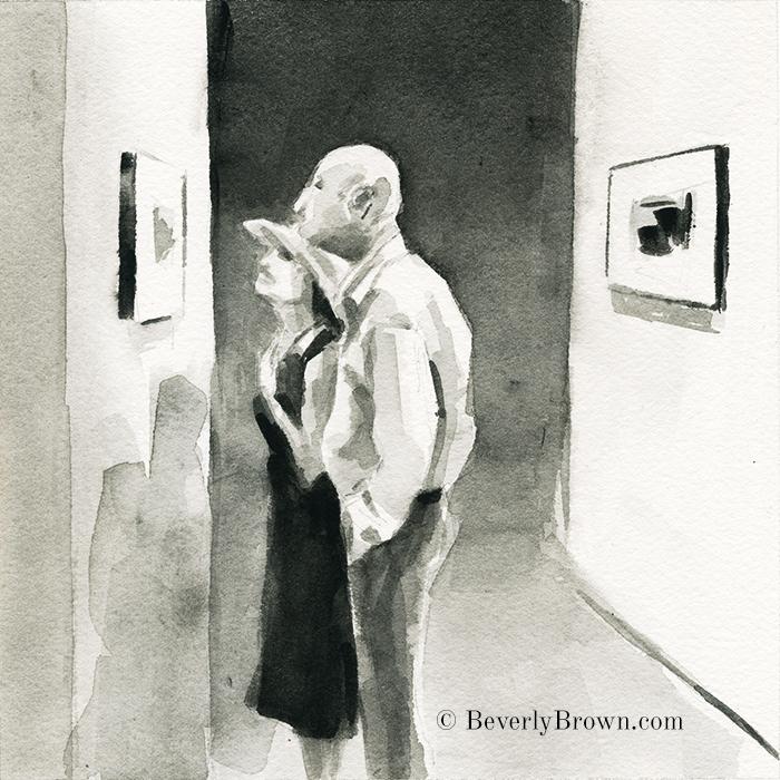 Sketchbook: Diane Arbus at the Met Breuer. Black and white watercolor sketch by artist Beverly Brown | www.beverlybrown.com