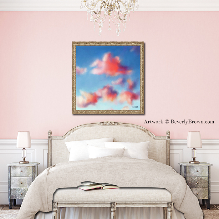 Tiepolo Clouds pink and blue wall art for a blush pink bedroom. Framed wall art over the bed by Beverly Brown. Art prints and canvas wall art for sale in multiple sizes. | www.beverlybrown.com
