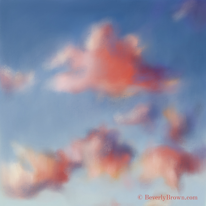 """Tiepolo Clouds"" painting by Beverly Brown. Dreamy pink Tiepolo clouds were the inspiration for this atmospheric painting by Beverly Brown. Art prints and canvas wall art for sale in multiple sizes. - www.beverlybrown.com"