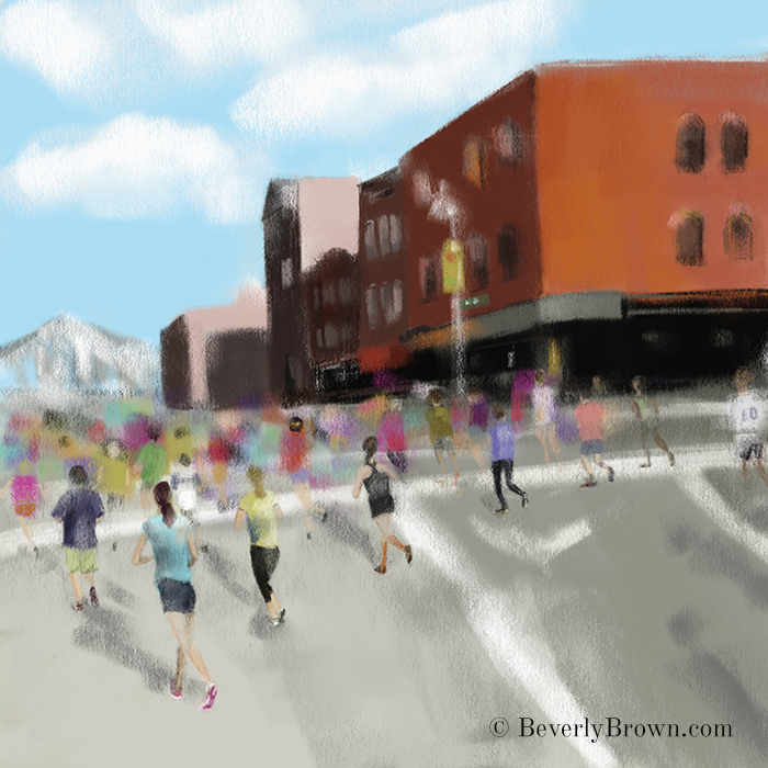 NYC Marathon Painting by artist Beverly Brown