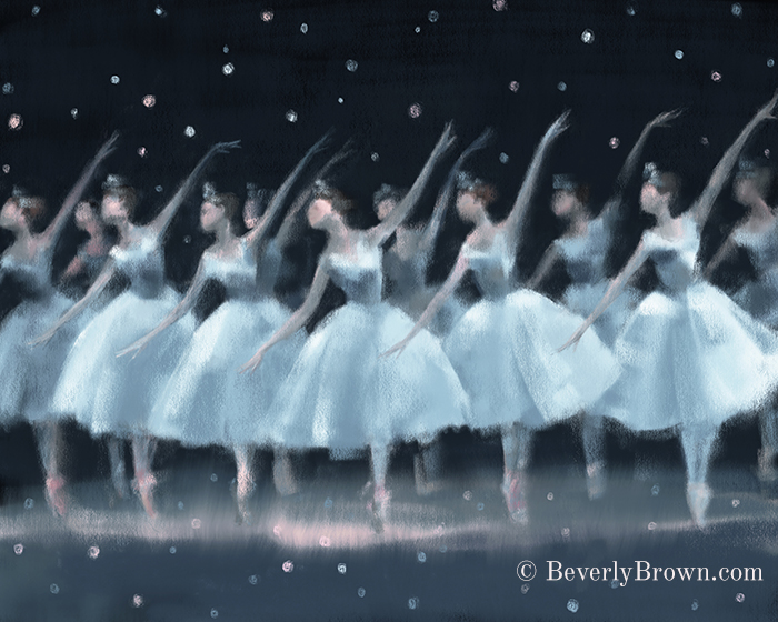 Waltz of the Snowflakes Nutcracker Ballet Print for Sale by Beverly Brown | www.beverlybrown.com