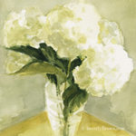 White Hydrangea floral wall art by Beverly Brown