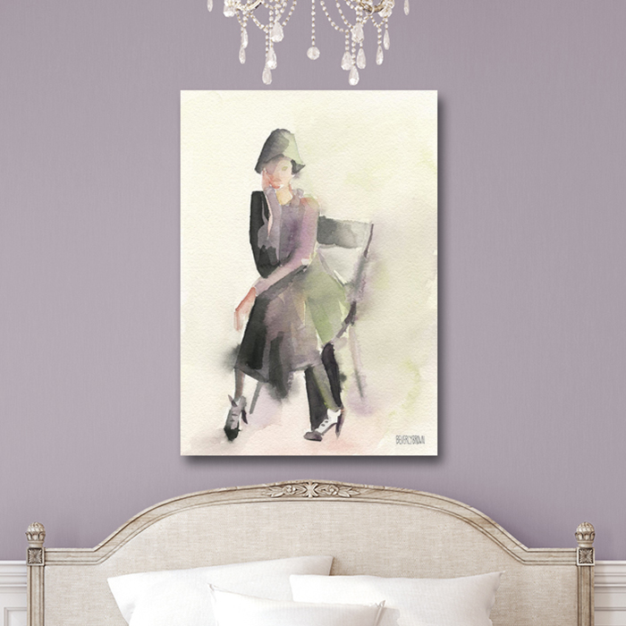 Woman In A Cloche Hat Retro Chic Wall Art Painting Print Beverly Brown Artist
